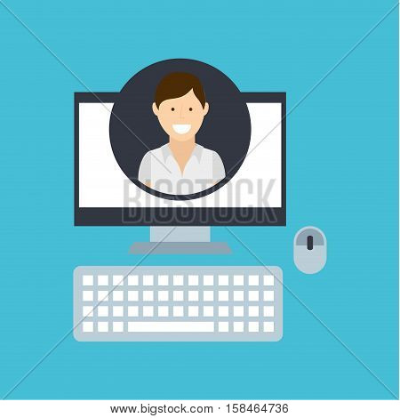 young man community social network vector illustration eps 10
