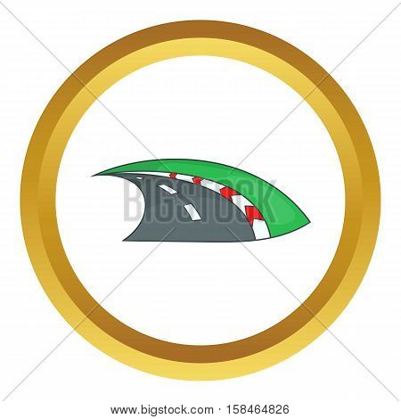 Speedway vector icon in golden circle, cartoon style isolated on white background