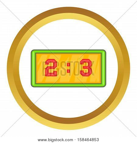 Football score vector icon in golden circle, cartoon style isolated on white background