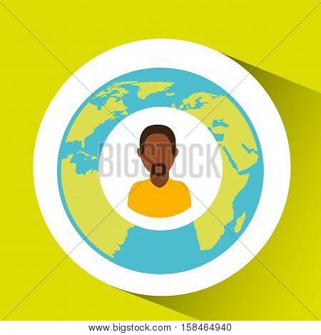afroamerican man social media world map vector illustration eps 10