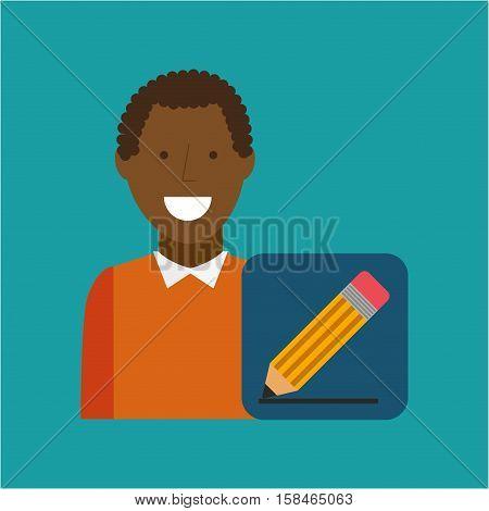 man afroamerican using laptop write media icon vector illustration eps 10