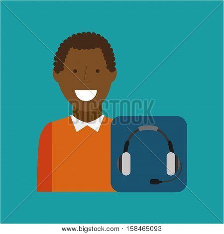 man afroamerican using laptop heatset media icon vector illustration eps 10