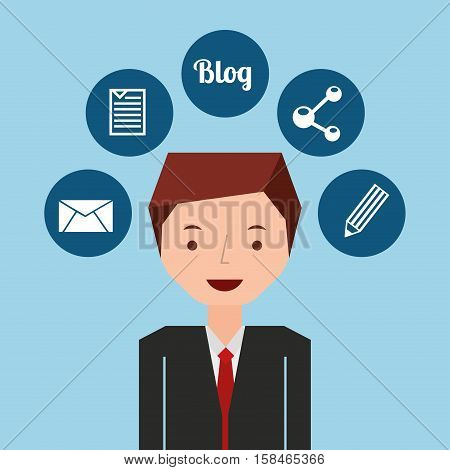 businessman standing with social network icon vector illustration eps 10
