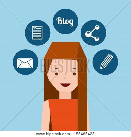 girl long hair stand and social media icons design vector illustration eps 10