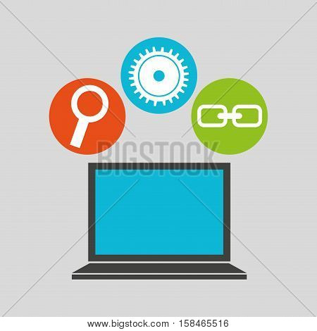 notebook technology social media concept vector illustration eps 10