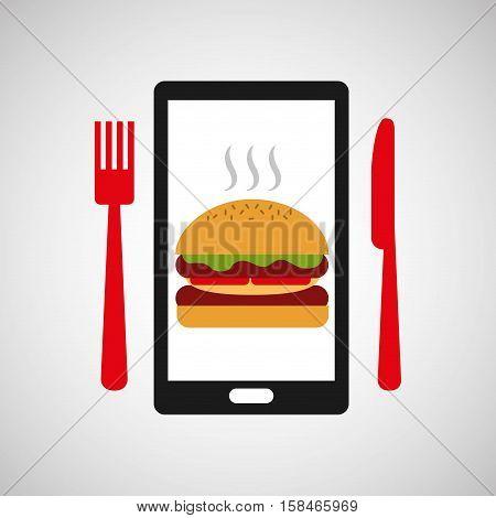 smartphone order burger food online vector illustration eps 10