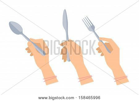 Female hands with cutleries: steel spoon fork and knife. Flat illustration of kitchenware and silverware. Vector elements for web design social networks and inforaphics.