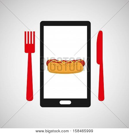 smartphone order hot dog food online vector illustration eps 10