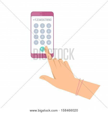 Woman is dialing number on the phone. Flat vector concept illustration of female hand and smartphone. Businesswoman touching buttons with numbers on the mobile phone screen to make a phone call.
