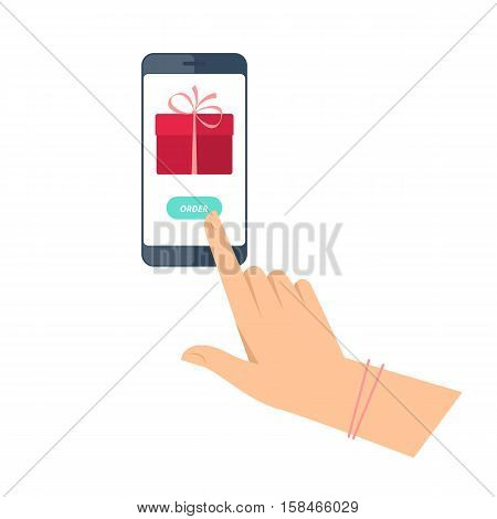 Woman is ordering gift by phone. Flat vector concept illustration of hands with smartphone with present box icon and order button. Holiday online delivery. Christmas and new year design element.