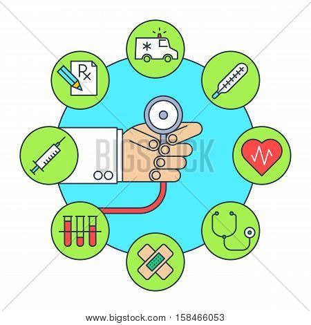 Doctor's hand with a stethoscope. Online medicine and health flat line concept illustration. Cardiologist is holding a phonendoscope. Medical icon set. Healthcare vector infographic element.
