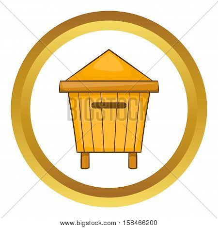 Beehive vector icon in golden circle, cartoon style isolated on white background