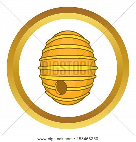 Round beehive vector icon in golden circle, cartoon style isolated on white background