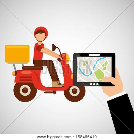 hand hold tablet delivery food boy vector illustration eps 10