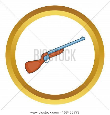 Hunting shotgun vector icon in golden circle, cartoon style isolated on white background
