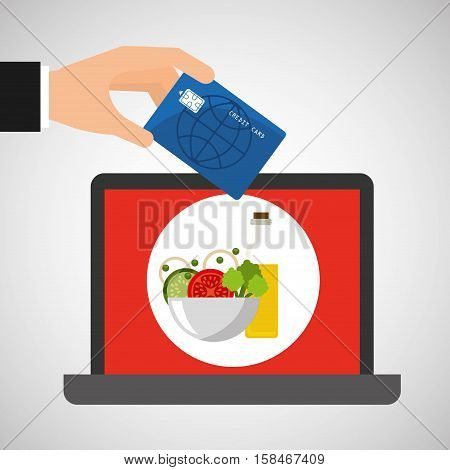 shopping online concept order sauce salad vector illustration eps 10