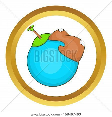 Globe with american continent vector icon in golden circle, cartoon style isolated on white background