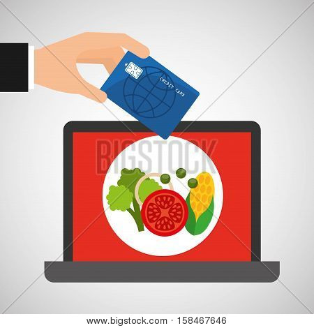 shopping online concept order organic food vector illustration eps 10