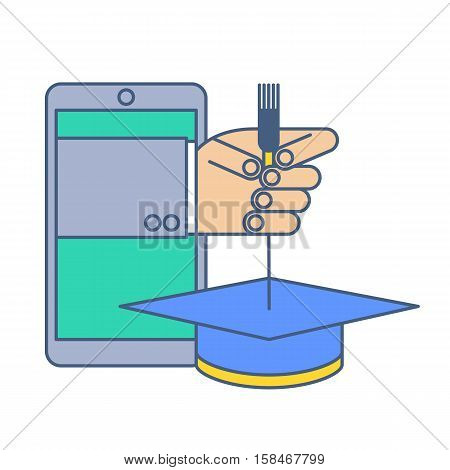 Education by internet. Online school and graduation line concept illustration. Human hand from phone screen is holding a hat by tassel. Vector tele education and remote teaching infographic element.