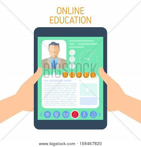 Online school and e-learning concept. Vector flat illustration of student hands holding a computer. A man teacher gives a lesson on the tablet screen. Element for school online education infographic.