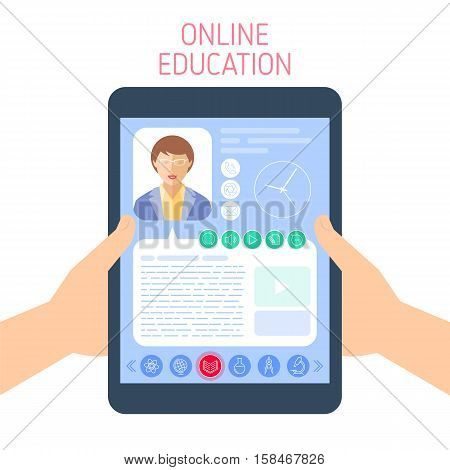 School and education concept. Vector flat illustration of pupil hands holding a tablet. A woman teacher gives a lesson on the computer screen. Element for e-learning online education infographic.