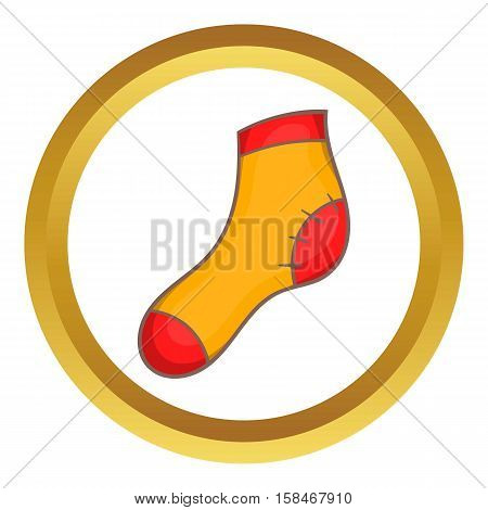 Christmas sock in cartoon style isolated on white background vector illustration