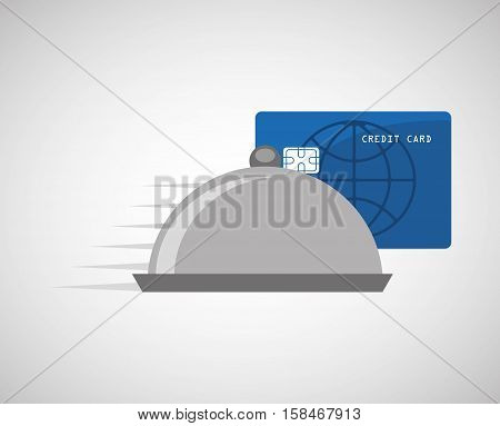 payment credit card delivery food catering vector illustration eps 10