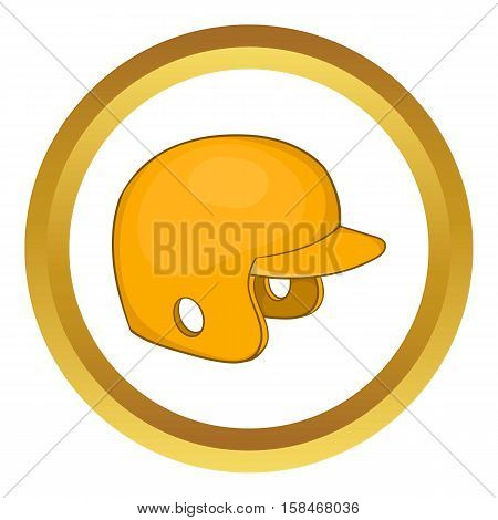 Baseball helmet vector icon in golden circle, cartoon style isolated on white background