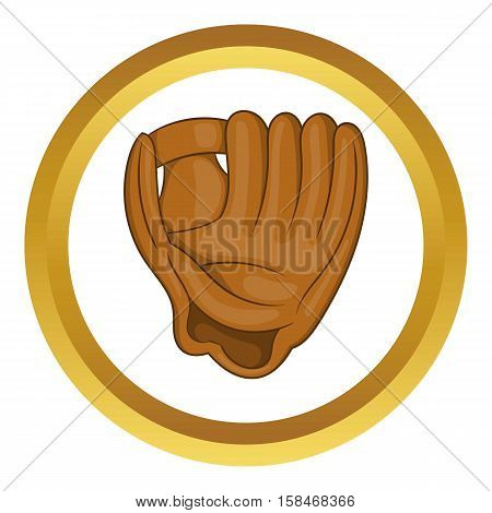 Baseball glove with ball vector icon in golden circle, cartoon style isolated on white background