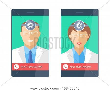 Doctor online with web cam on a phone screen. Telemedicine and telehealth flat concept illustration. Smartphone male and female medics web camera on a heads. Vector medical and technology elements.