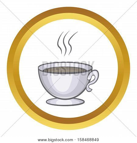 Cup of coffee vector icon in golden circle, cartoon style isolated on white background