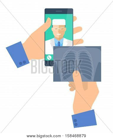 Man holding a phone with doctor online and x-ray image. Telemedicine and telehealth vector flat concept illustration. Hand smartphone xray picture medic online exams lung radiography. Tele medical
