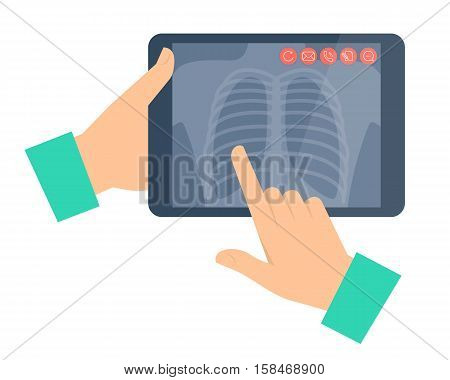Doctor holding a tablet computer with lung radiography. Telemedicine telehealth flat concept illustration. Hands chest x-ray image. Vector design element for digital online medicine infographic.