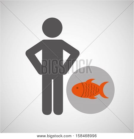 silhouette man fish nutrition healthy vector illustration eps 10