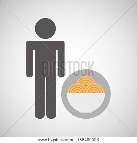 silhouette man pasta in bowl nutrition healthy vector illustration eps 10