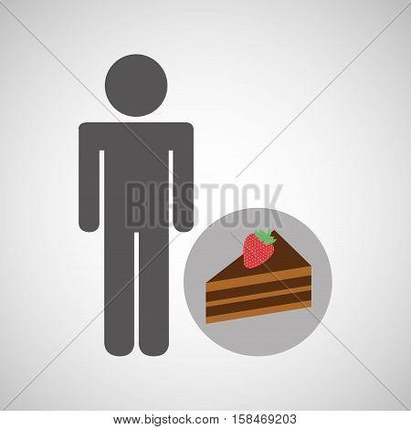 silhouette man chocolate cake dessert nutrition healthy vector illustration eps 10