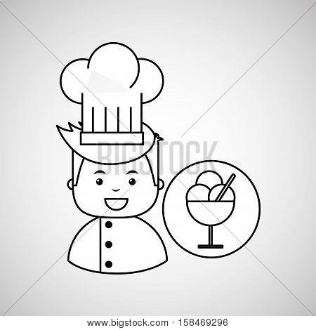 cartoon chef gourmet tasty ice cream vector illustration eps 10