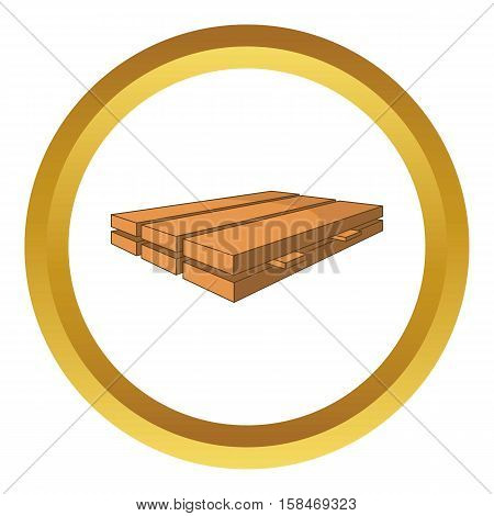Wood boards vector icon in golden circle, cartoon style isolated on white background