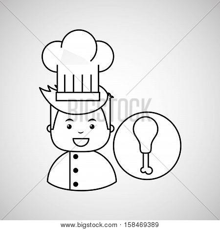 cartoon chef gourmet chicken thigh vector illustration eps 10