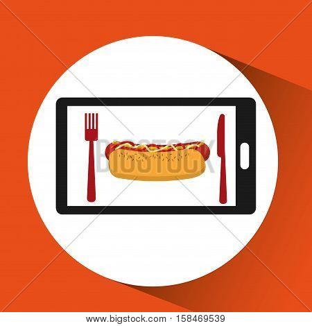 smartphone order hot dog food online vector illustration eps 10