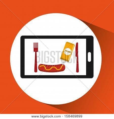 smartphone order sausage food online vector illustration eps 10