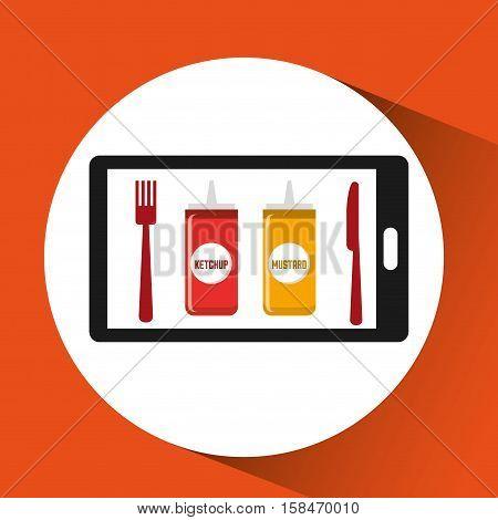smartphone order sauces food online vector illustration eps 10