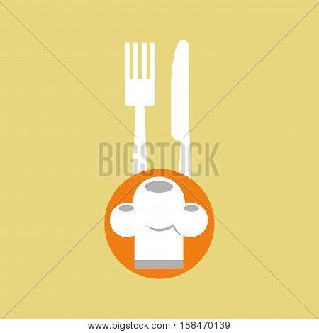 delivery food chef hat fork knife vector illustration eps 10
