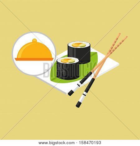 food serving tray sushi design vector illustration eps 10