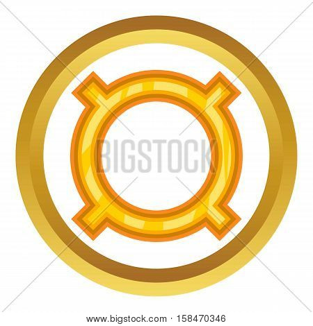 All currencies vector icon in golden circle, cartoon style isolated on white background