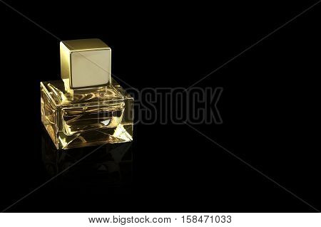 close-up perfume bottle isolated on black background