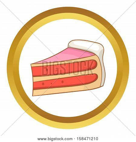 Pumpkin pie slice vector icon in golden circle, cartoon style isolated on white background