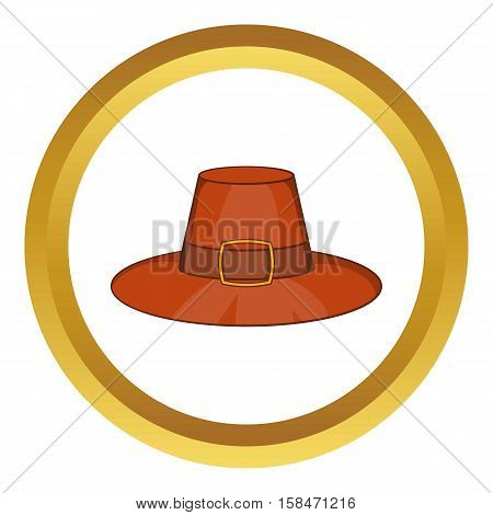 Piligrim hat vector icon in golden circle, cartoon style isolated on white background