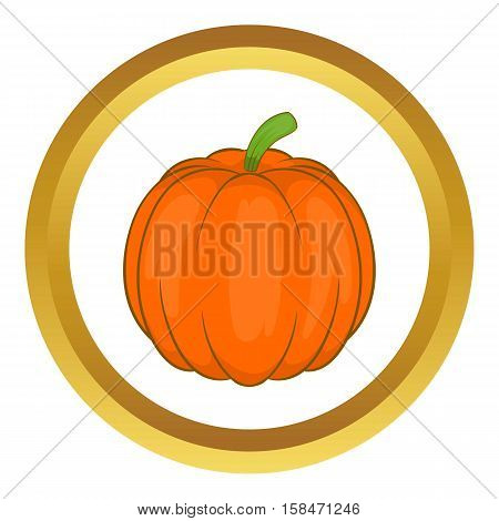 Autumn pumpkin vegetable vector icon in golden circle, cartoon style isolated on white background