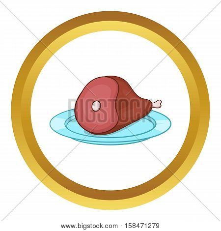 Ham or gammon vector icon in golden circle, cartoon style isolated on white background